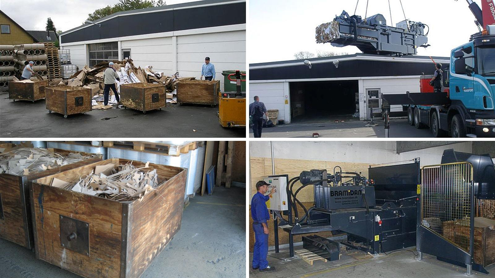 Collage of horizontal baler and cut cardboard waste in wooden boxes