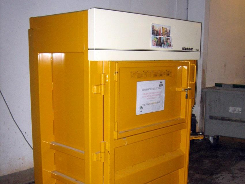 Yellow Bramidan baler in basement of Hilton hotel