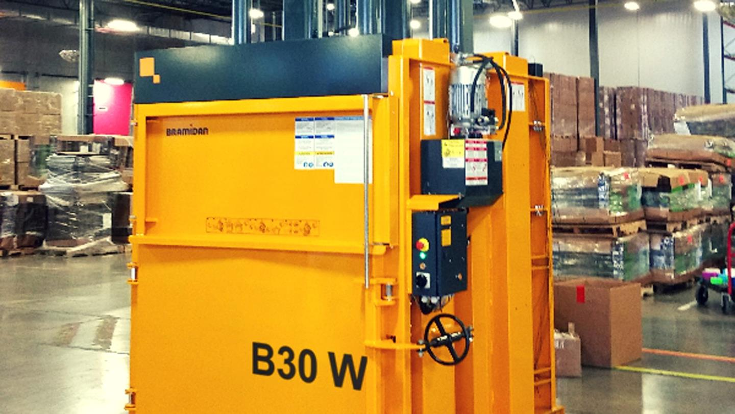 Bramidan baler placed inside Method Home soap factory in Chicago