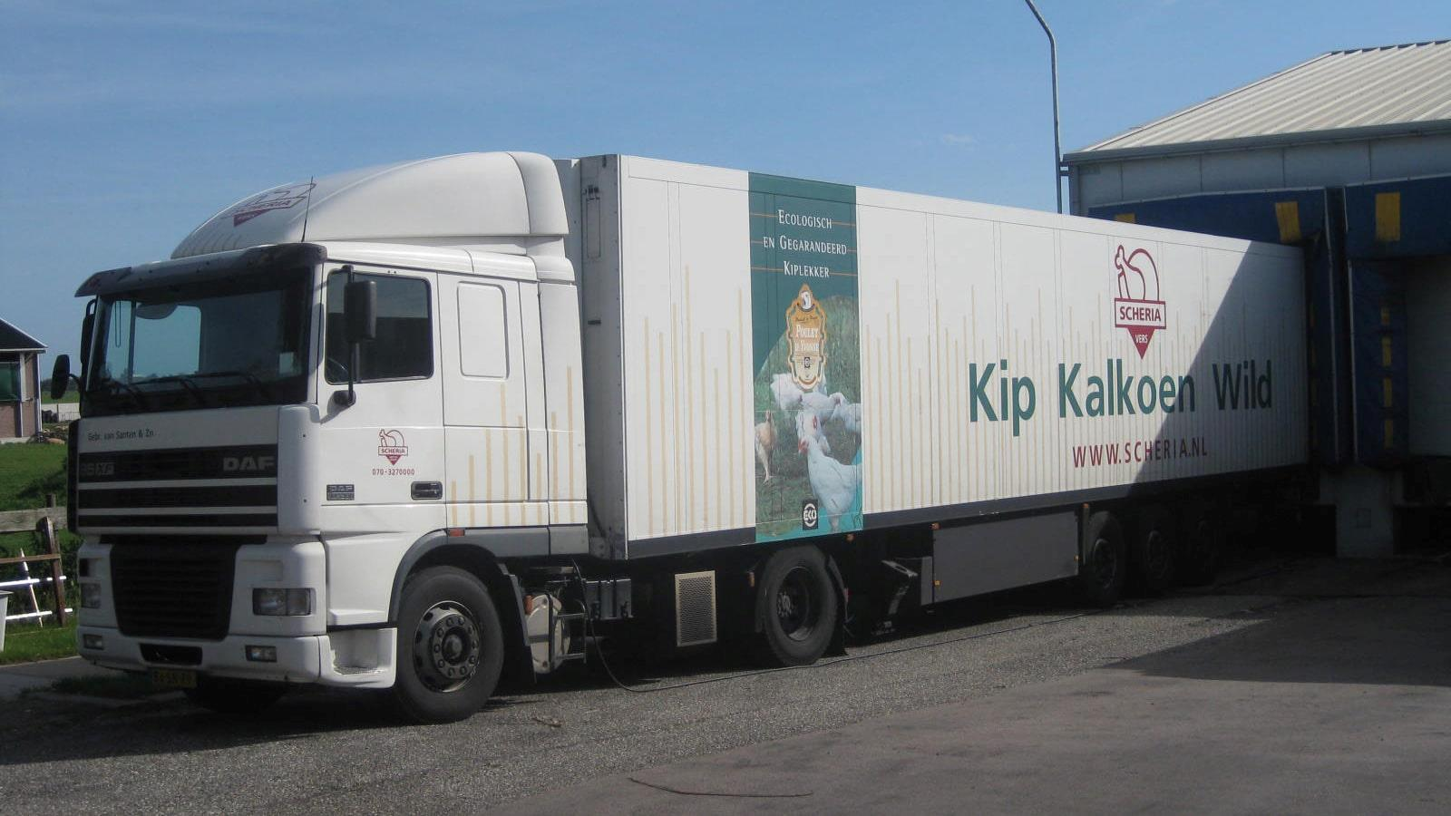 Refrigerated truck from Scheria is loaded with goods